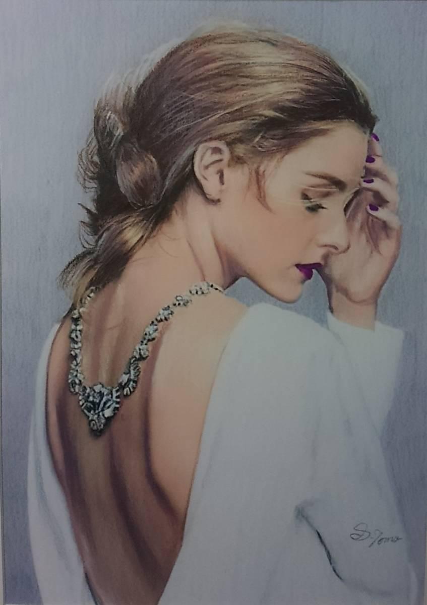 『作品1091』S.Tomo氏直筆色鉛筆画 超美品 美人画 新品額装