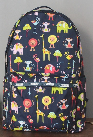 man and woman use BAG * pretty rucksack Le Sportsac middle size animal dark blue