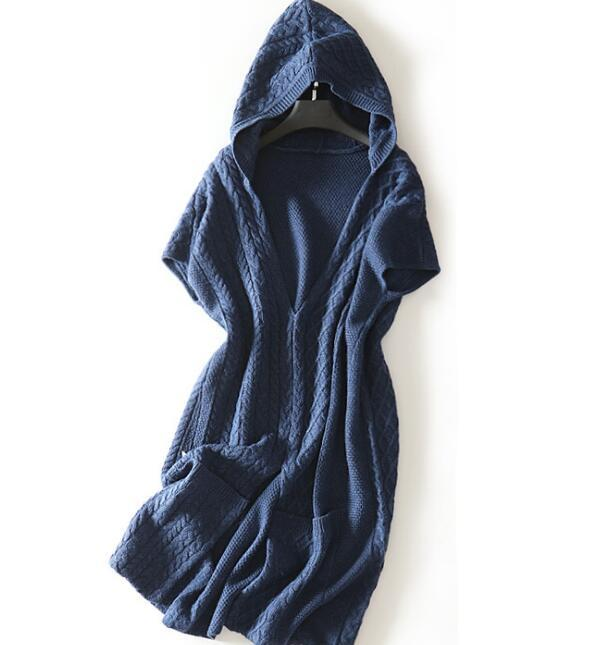 new goods super pretty * lady's wool knitted One-piece with a hood . long shirt blue