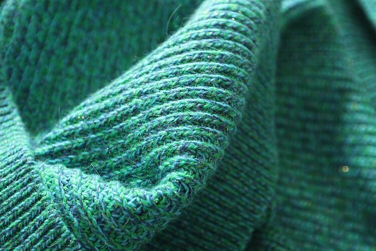 new goods soft * lady's knitted One-piece 100% wool high‐necked green L