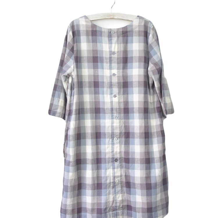 new goods pretty Western-style clothes lady's cotton flax cotton *linen One-piece check -M