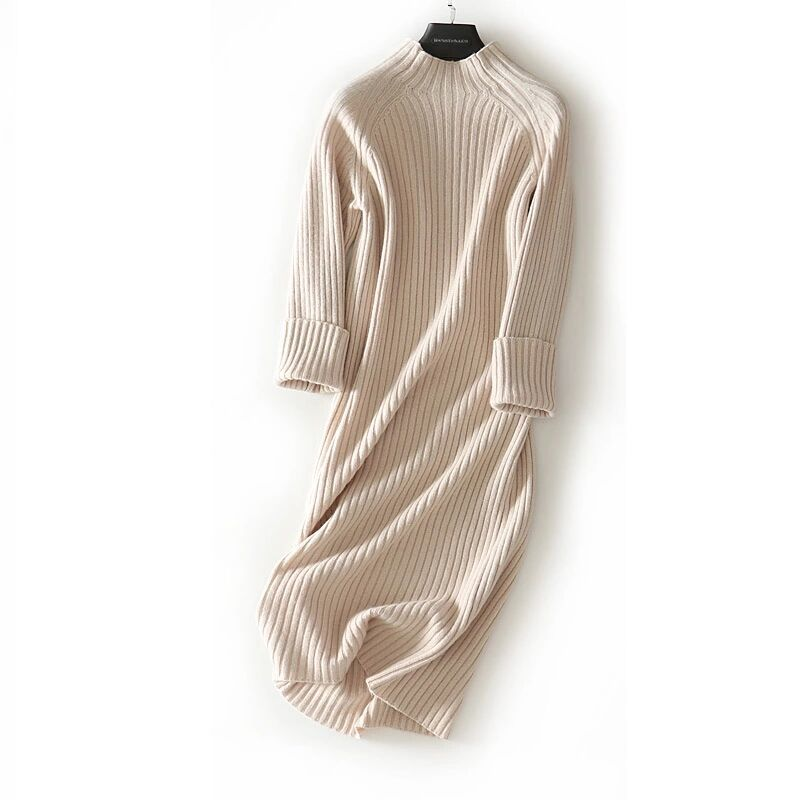 new goods super pretty * lady's knitted One-piece 100% wool simple plain apricot