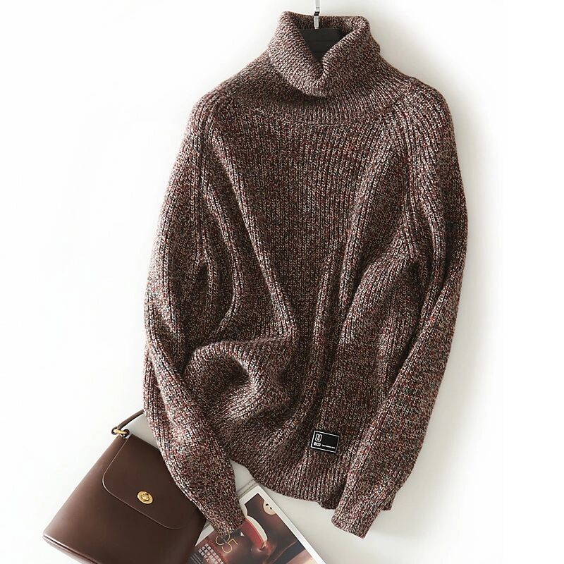 new goods super pretty * lady's knitted One-piece 100% wool high‐necked chocolate XL