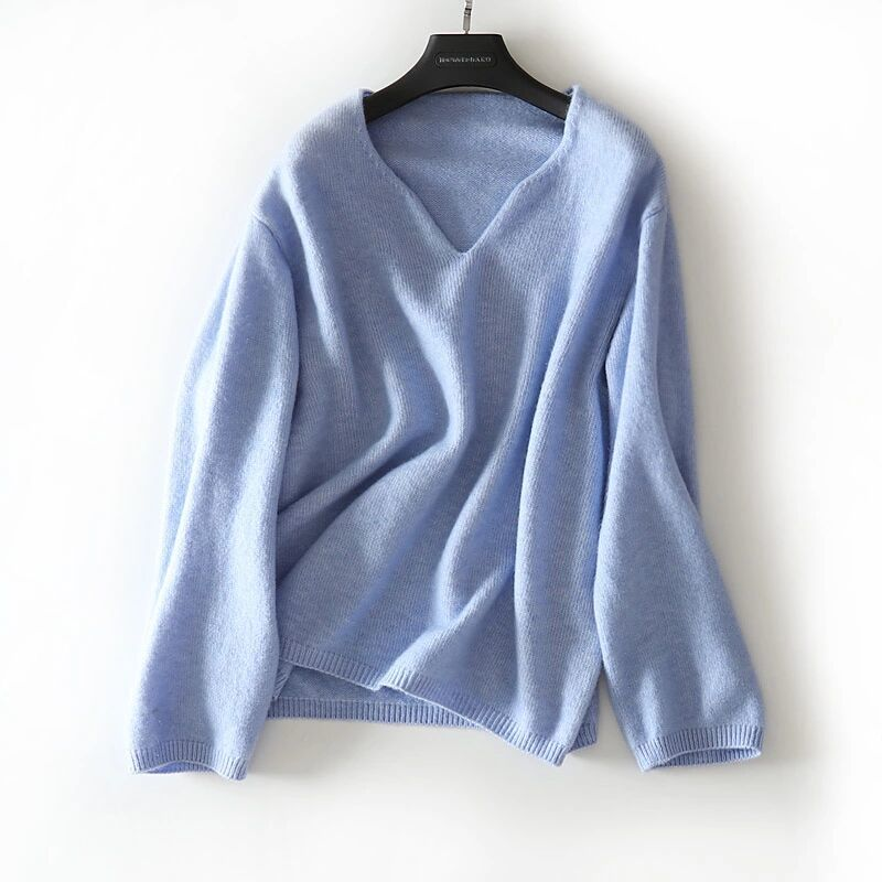 new goods quality lady's knitted cut and sewn 100% Anne gola wool V neck plain blue free