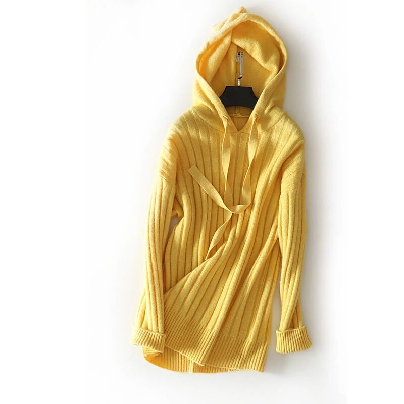 new goods quality lady's knitted cut and sewn 100% Anne gola wool with a hood . sweater i. low