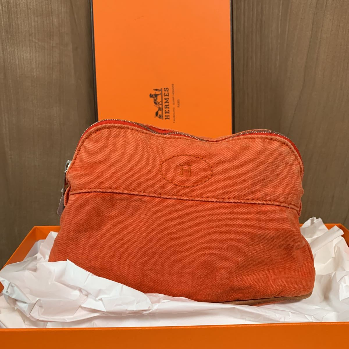 HERMES エルメス ボリードポーチ オレンジ キャンバスレディース 化粧ポーチ コスメポーチ 小物入れ カバン 箱あり