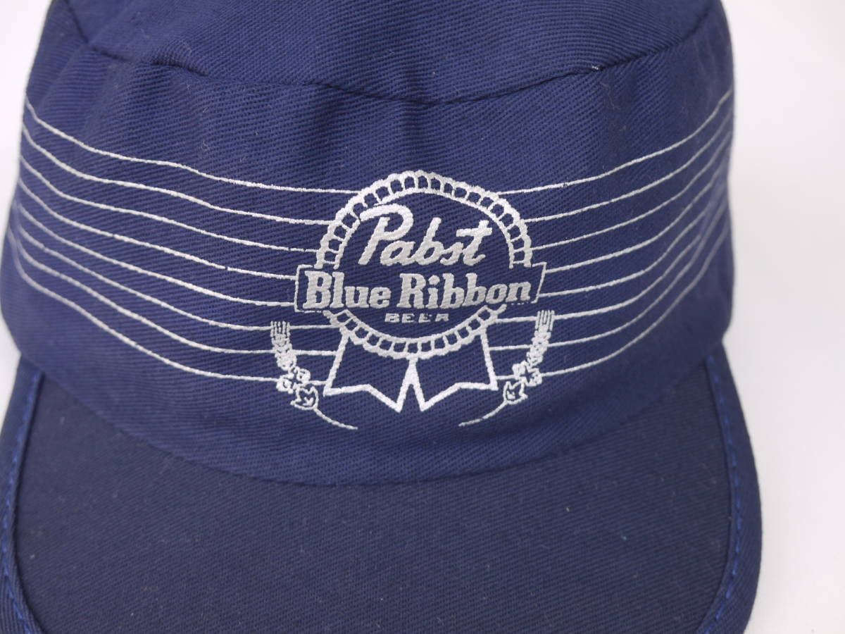 NOS PABST BLUE RIBBON BEER VTG WORK CAP NAVY パブストブルーリボン ビンテージ ワークキャップ USA ビール 企業モノ ビール _画像3
