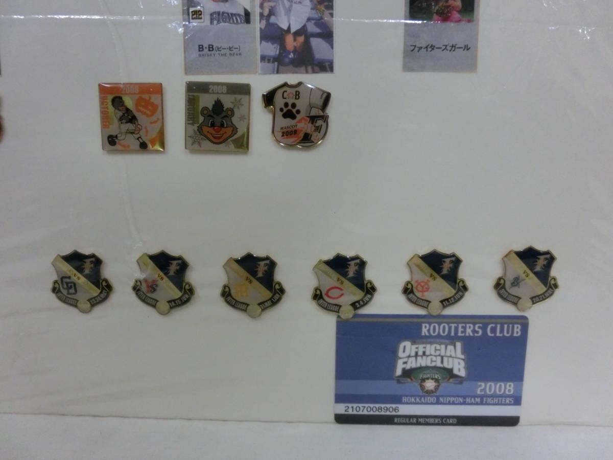 稀少! 手作り!日本ハムファイターズ2008年 選手名鑑パネル! 切り抜き&ピンバッジ フルコンプかはわかりません W54H76(cm)_画像7