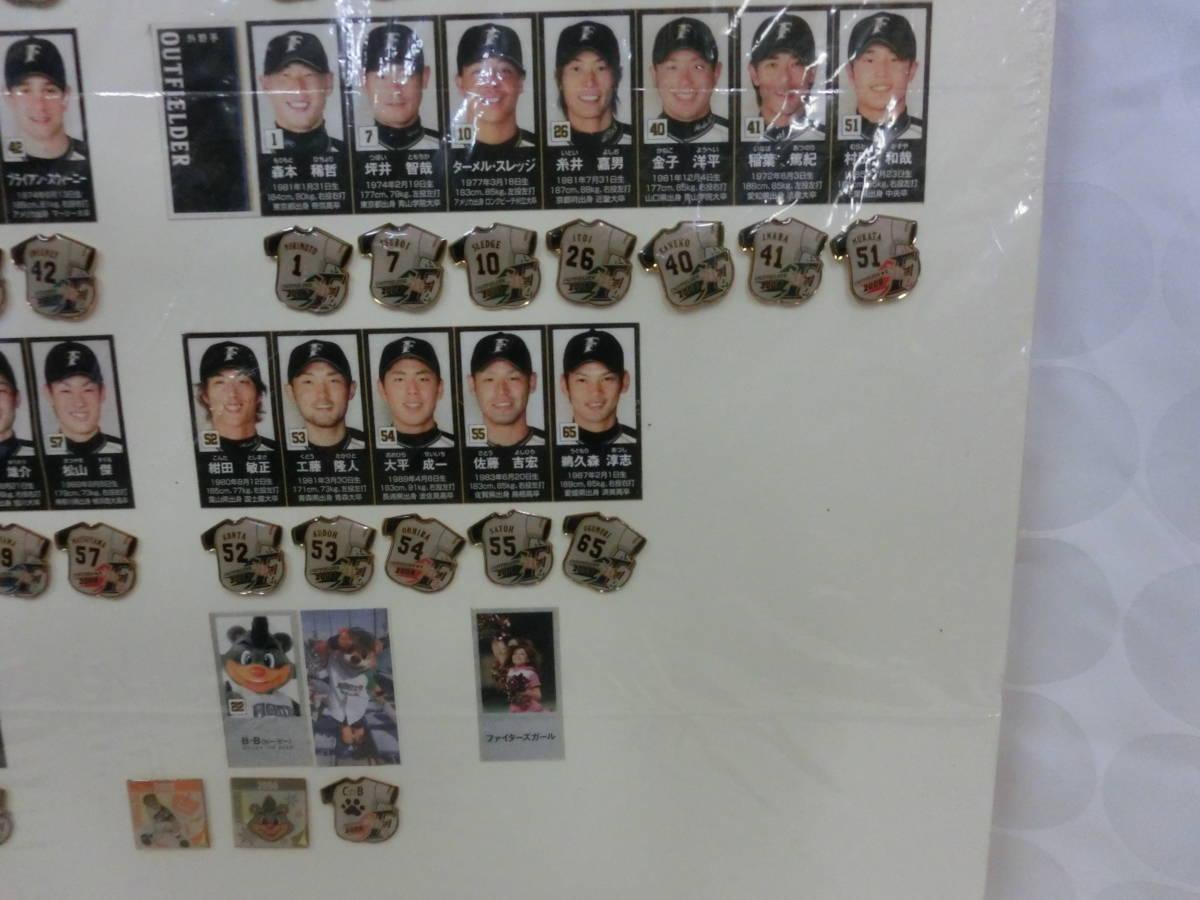 稀少! 手作り!日本ハムファイターズ2008年 選手名鑑パネル! 切り抜き&ピンバッジ フルコンプかはわかりません W54H76(cm)_画像6