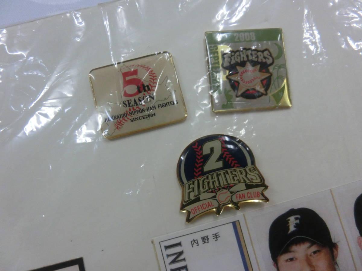 稀少! 手作り!日本ハムファイターズ2008年 選手名鑑パネル! 切り抜き&ピンバッジ フルコンプかはわかりません W54H76(cm)_画像8