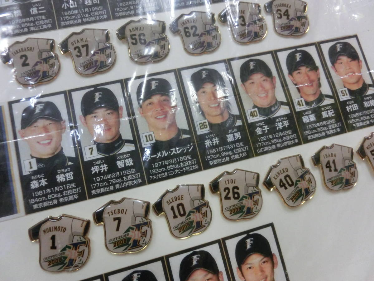 稀少! 手作り!日本ハムファイターズ2008年 選手名鑑パネル! 切り抜き&ピンバッジ フルコンプかはわかりません W54H76(cm)_画像10