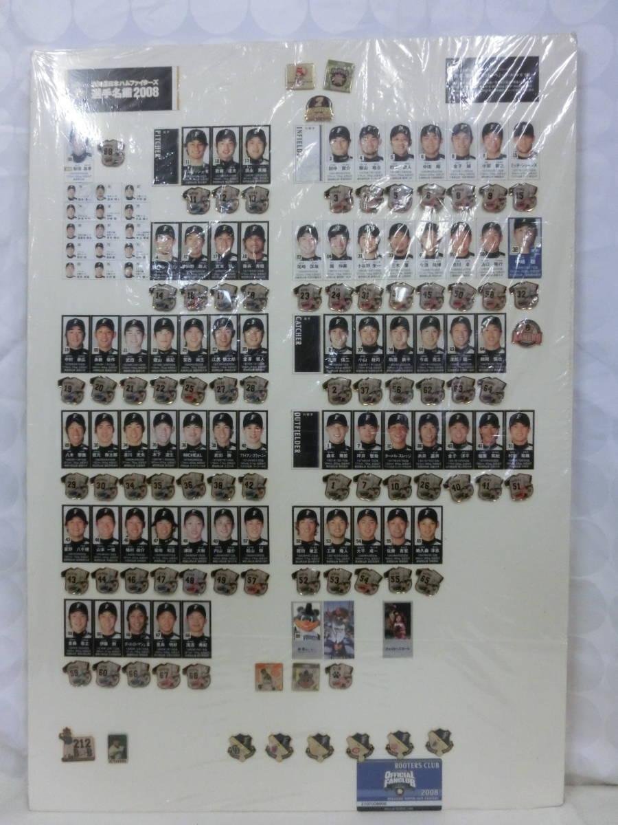 稀少! 手作り!日本ハムファイターズ2008年 選手名鑑パネル! 切り抜き&ピンバッジ フルコンプかはわかりません W54H76(cm)_画像1