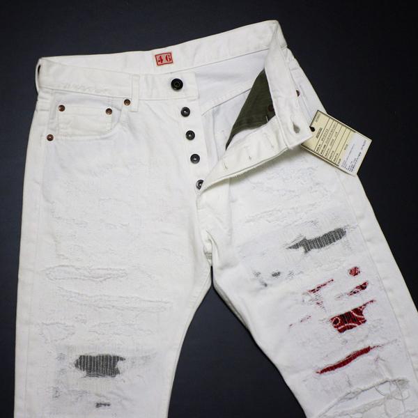 新品 定価4.8万 NEXUS7 ネクサスセブン MAD MAXX Repaired White Denim Pants 限定 ビンテージ 加工 デニム !! soph 藤原ヒロシ 刺し子_画像2