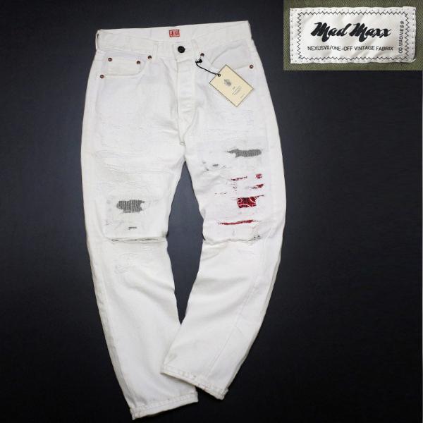 新品 定価4.8万 NEXUS7 ネクサスセブン MAD MAXX Repaired White Denim Pants 限定 ビンテージ 加工 デニム !! soph 藤原ヒロシ 刺し子