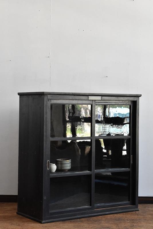 【ゆらゆらガラスの渋い黒食器棚】 /本箱/本棚/収納棚/水屋/ガラスケース/アンティーク/昭和レトロ/什器/展示_画像4