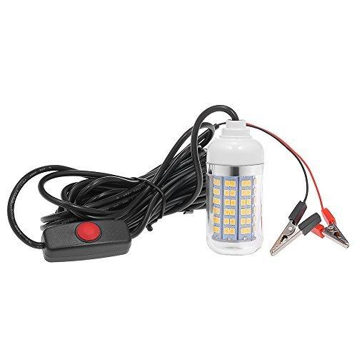 「Docooler 12V 15W 水中釣りLEDライト 魚発見システムライト 30ft電源コードとバッテリークリップ付き」の画像1