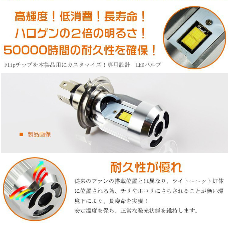 1円スタート!ワンタッチで取り付けLEDヘッドライト H4 Hi/Lo HS1にも対応 6000K 純正に限りなく近づいた逆転発想Plug-in LED 瞬時点灯_画像5