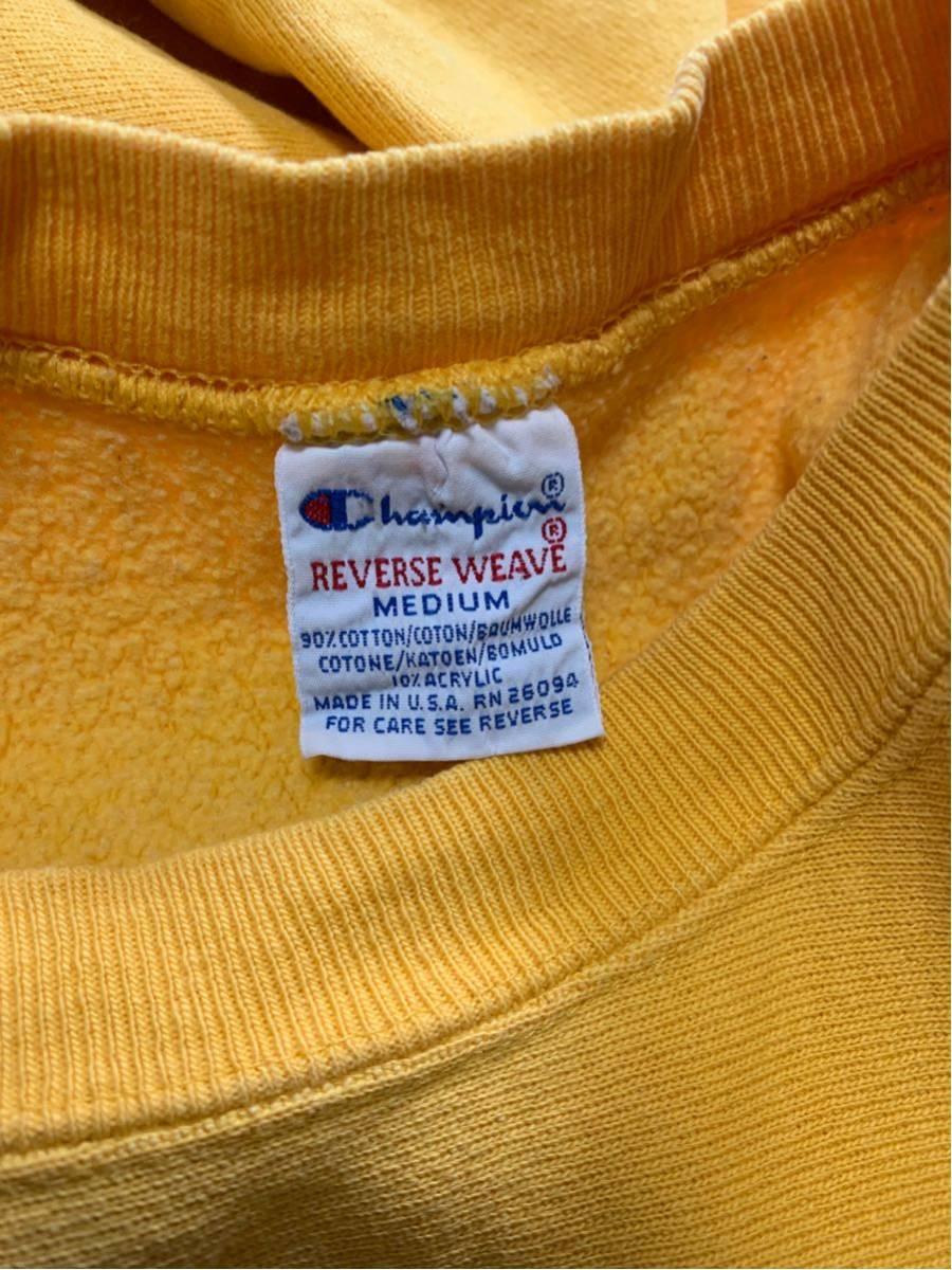 Champion Reverse Weave sweat 刺繍タグ USA製 中古 サイズ m 目玉 無地 vintage ビンテージ チャンピオン リバースウィーブ 黄_画像4