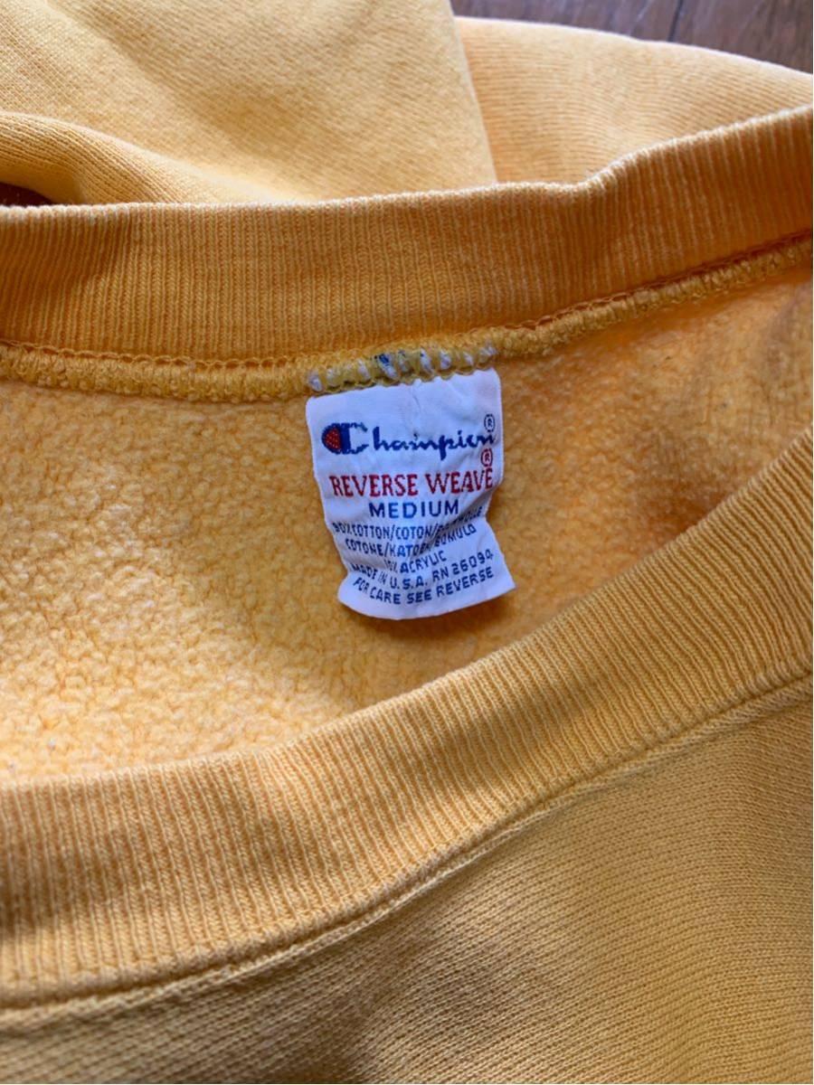 Champion Reverse Weave sweat 刺繍タグ USA製 中古 サイズ m 目玉 無地 vintage ビンテージ チャンピオン リバースウィーブ 黄_画像3