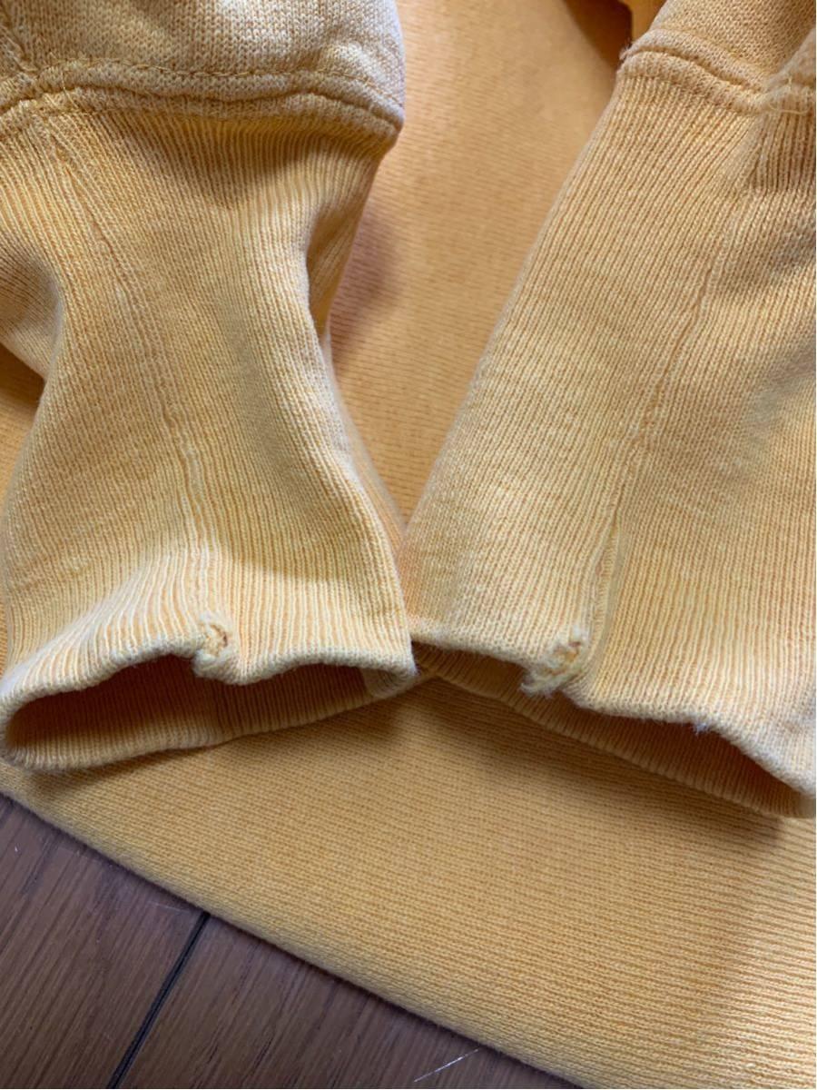 Champion Reverse Weave sweat 刺繍タグ USA製 中古 サイズ m 目玉 無地 vintage ビンテージ チャンピオン リバースウィーブ 黄_画像6