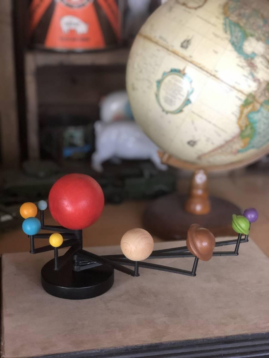 1円~ 送料無料! デッドストック 木製 天体模型 オブジェ 廃盤 (検) ミッドセンチュリー スペースエイジ 立体オブジェ 地球儀 太陽系 惑星