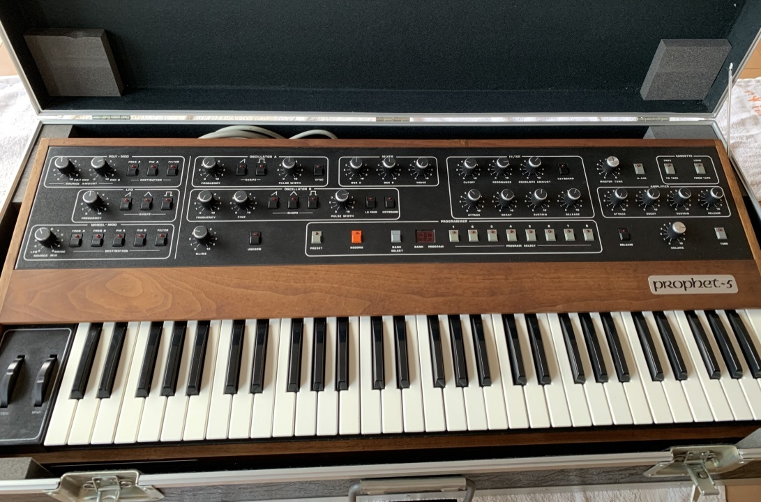 Sequential circuits Prophet 5 with MIDI and Duplex hard case