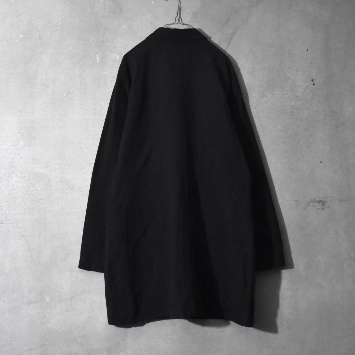 ★美品★ FLAX フラックス ストライプ ロングシャツ 黒 Mサイズ リネン_画像2