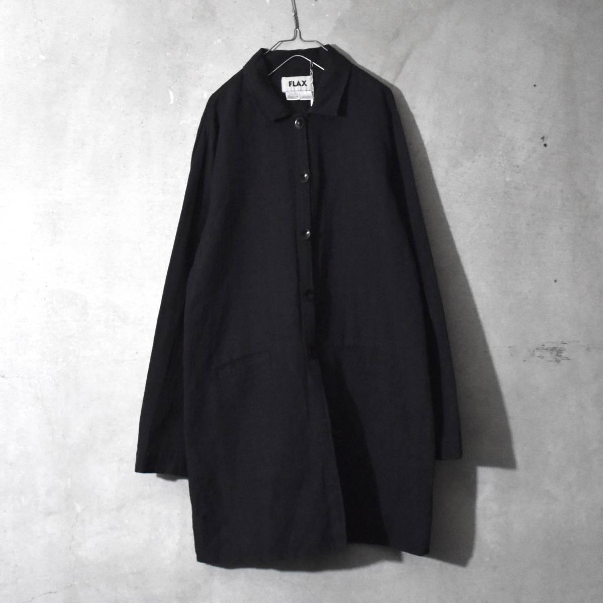 ★美品★ FLAX フラックス ストライプ ロングシャツ 黒 Mサイズ リネン