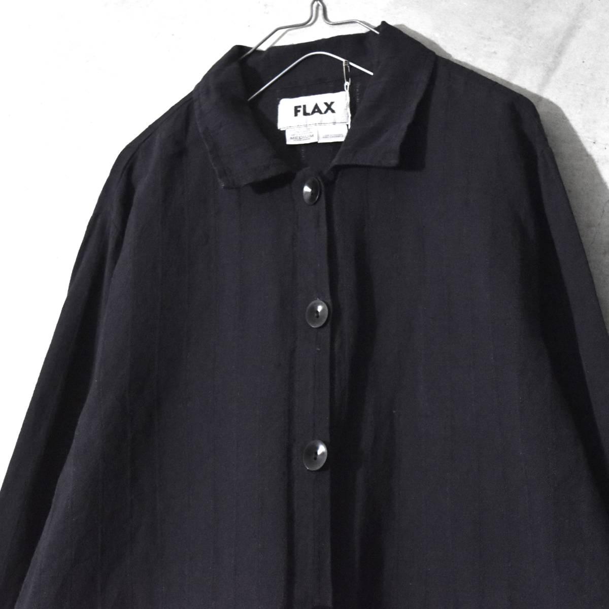 ★美品★ FLAX フラックス ストライプ ロングシャツ 黒 Mサイズ リネン_画像3