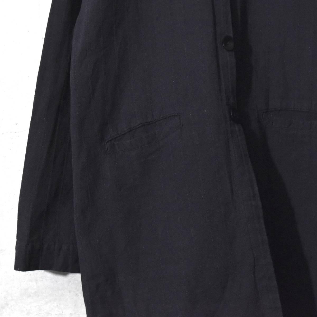 ★美品★ FLAX フラックス ストライプ ロングシャツ 黒 Mサイズ リネン_画像4
