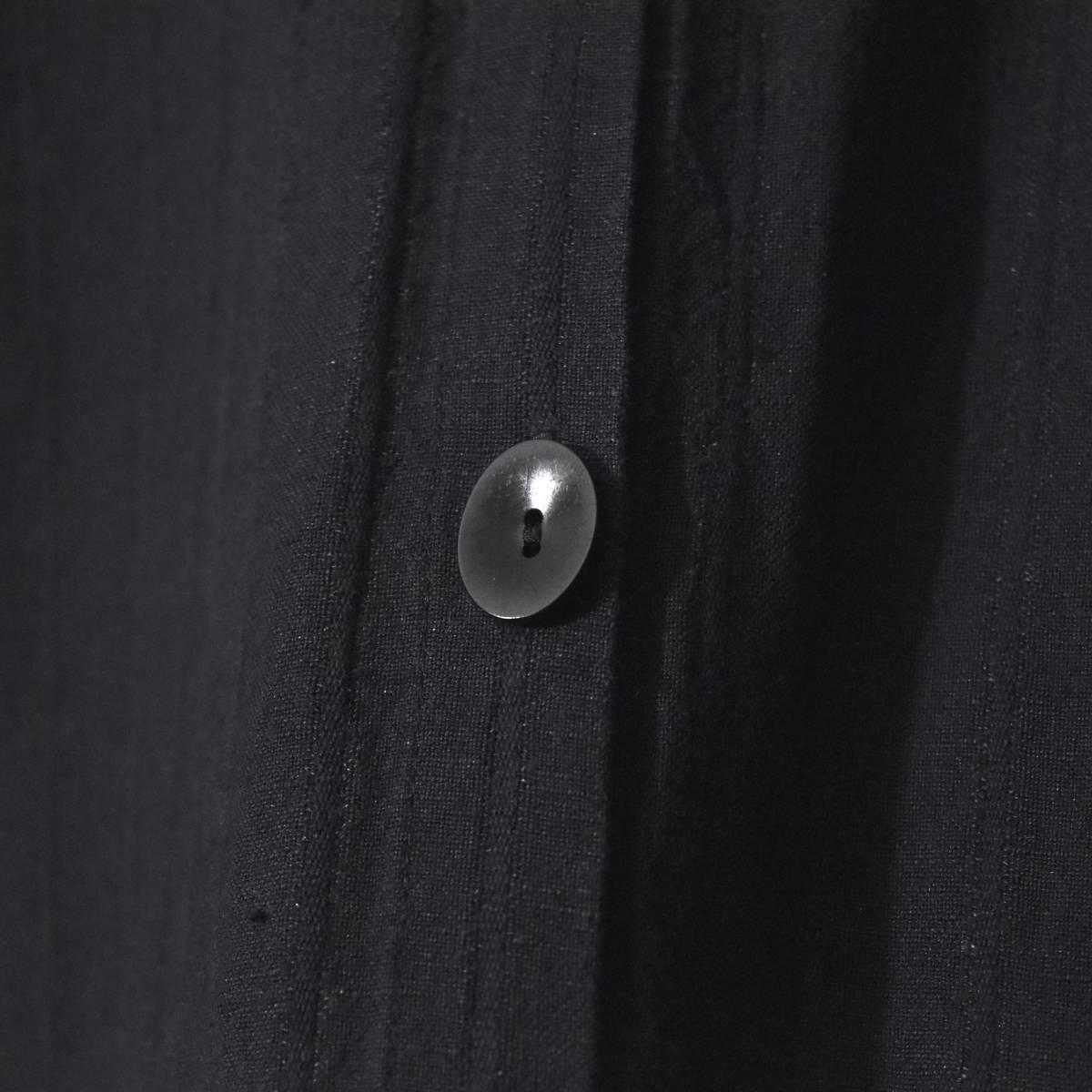 ★美品★ FLAX フラックス ストライプ ロングシャツ 黒 Mサイズ リネン_画像6