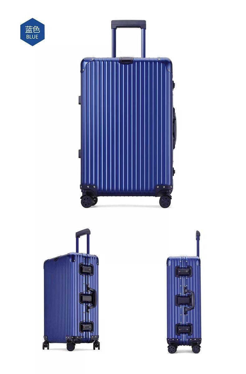 最高級・高品質※純正アルミマグネシウム合金製・軽量/静音・TSAロック搭載※クラシック・スーツケース・キャリーケース・ブルー_画像3