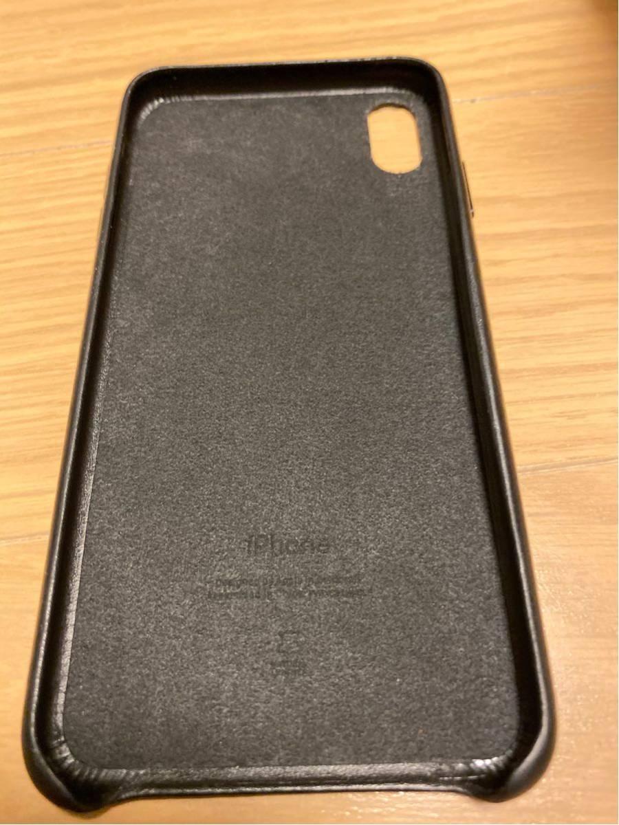 中古 Apple 純正 iPhone XS Max レザーケース ブラック 黒_画像3