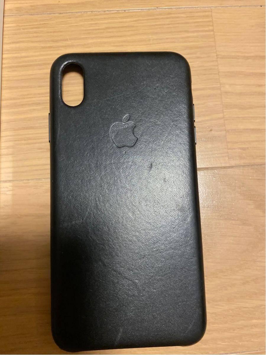 中古 Apple 純正 iPhone XS Max レザーケース ブラック 黒_画像4