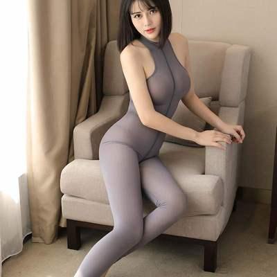 d700 セクシー 全身タイツ 2頭ファスナー ボディスーツ 体操服 コスプレ衣装 灰色_画像2