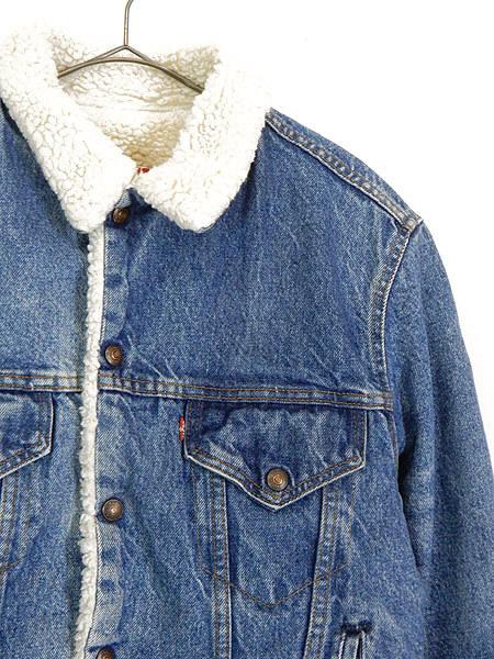 古着 ジャケット 80s USA製 Levi's ハンド ポケット付 インディゴ デニム ボア ジャケット Gジャン 着丈長め 40L 古着_画像2