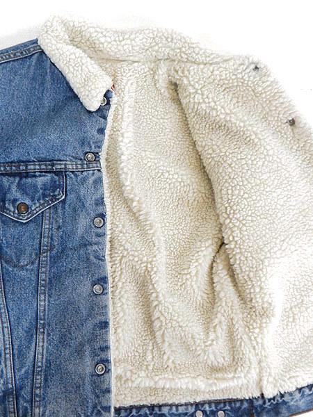 古着 ジャケット 80s USA製 Levi's ハンド ポケット付 インディゴ デニム ボア ジャケット Gジャン 着丈長め 40L 古着_画像6