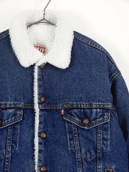 古着 ジャケット 80s USA製 Levi's 70609 ハンドポケット付 濃紺 インディゴ デニム ボア ジャケット Gジャン M 古着_画像2