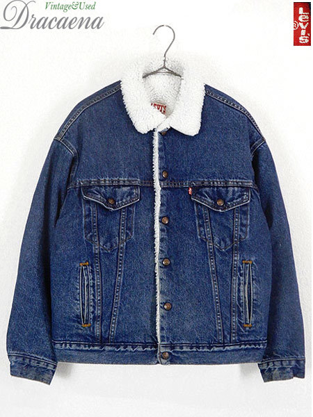 古着 ジャケット 80s USA製 Levi's 70609 ハンドポケット付 濃紺 インディゴ デニム ボア ジャケット Gジャン M 古着