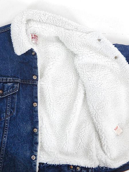 古着 ジャケット 80s USA製 Levi's 70609 ハンドポケット付 濃紺 インディゴ デニム ボア ジャケット Gジャン M 古着_画像6