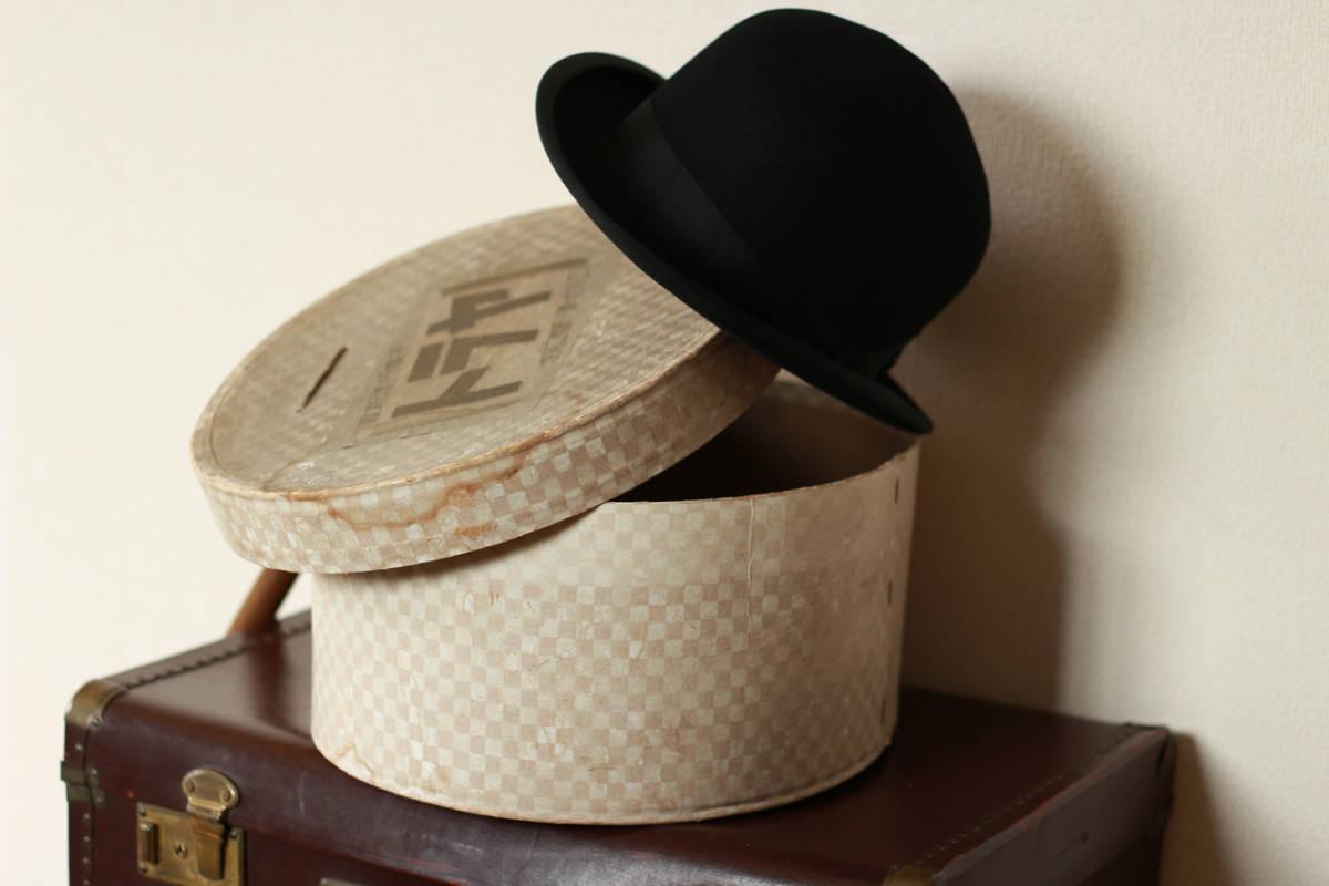 [値下げ交渉可] ビンテージ 1940s 50s 高級 ボーラーハット 山高帽 帽子 40s 1950s アンティーク レトロ インテリア ディスプレイ 什器_画像6