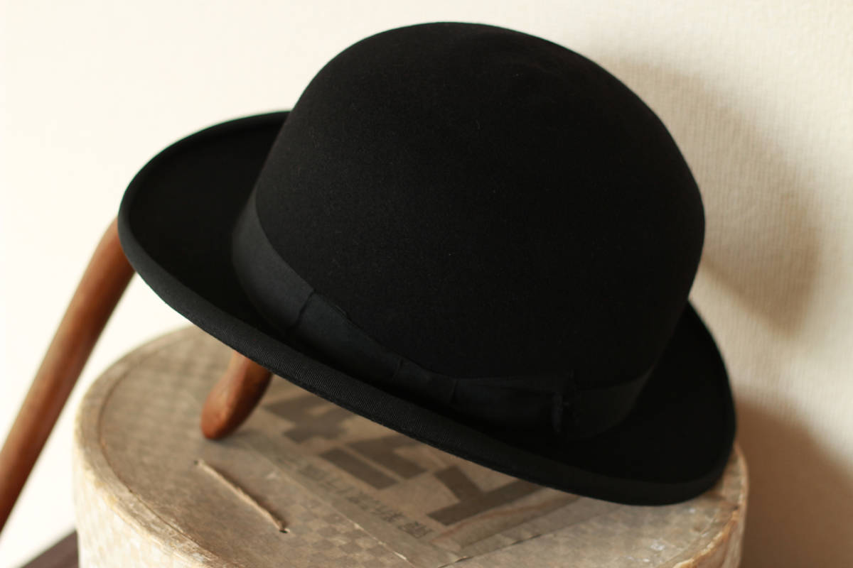 [値下げ交渉可] ビンテージ 1940s 50s 高級 ボーラーハット 山高帽 帽子 40s 1950s アンティーク レトロ インテリア ディスプレイ 什器_画像2