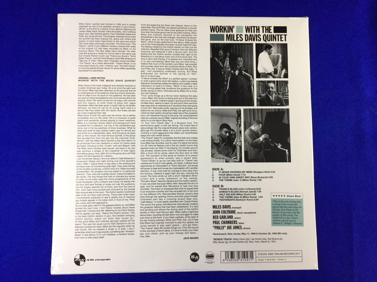 未開封/EU盤/ワーキン・ウィズ・ザ・マイルス・デイヴィス・クィンテット/Workin' With the Miles Davis Quintet/1LP/新品/美品/_画像2
