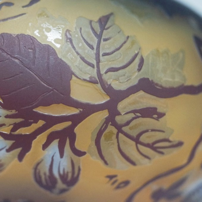 【証明書付】】【希少】 エミールガレ 高さ11cm カメオ彫り アンティーク 骨董 花瓶 フラワーベース R0208_画像4