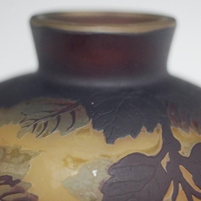 【証明書付】】【希少】 エミールガレ 高さ11cm カメオ彫り アンティーク 骨董 花瓶 フラワーベース R0208_画像10