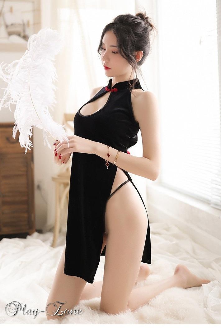 A413B チャイナドレス コスプレ セクシー ドレス ミニ ワンピース キャバ ドレス セクシー メイド 仮装 ベロア ベルベット ドレス_画像8