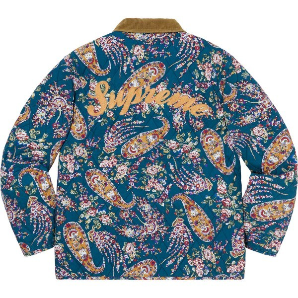 【Supreme/19FW】青XL -1* Supreme Quilted Paisley Jacket Navy Paisley Xlarge XL