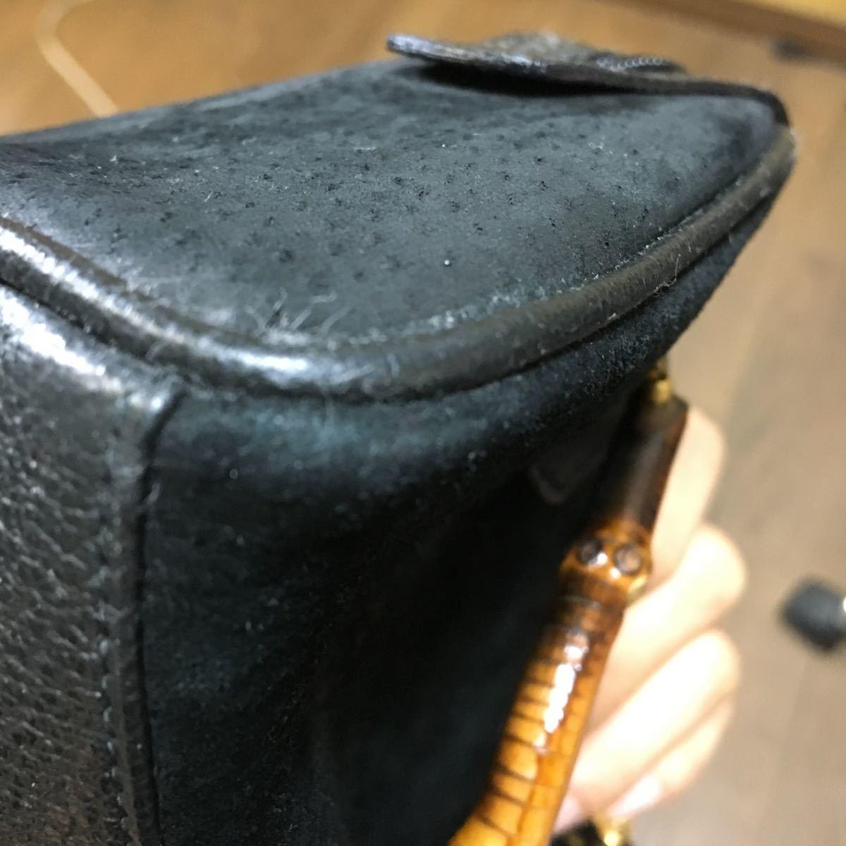 GUCCI グッチ BAMBOO バンブー 2WAY ミニ ショルダー ハンド BAG バッグ ポシェット ヴィンテージ OLD オールド スエード ブラック _画像4