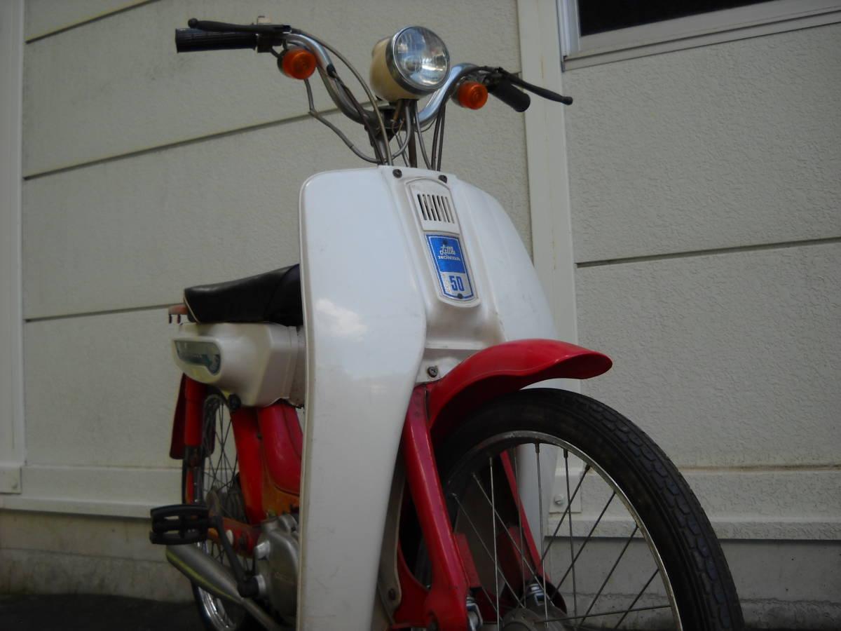 「リトルホンダ 49㏄ ホンダ PC50 2型 蔵出し モペット 原動機付自転車 昭和レトロ アンティーク 赤 純正車載工具付き 」の画像3