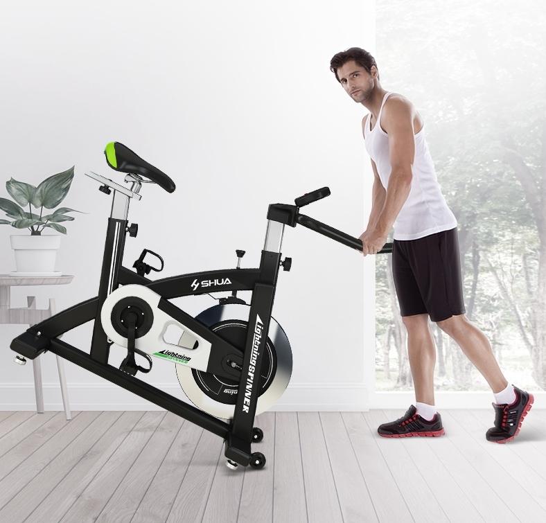 ほぼ無音!!スピンバイク 家庭用フィットネスバイク エクササイズ トレーニングマシーン 筋トレ スポーツ 運動器具 健康器具 エアロビクス_画像2